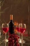Rode wijnwijn en druiven Stock Afbeelding
