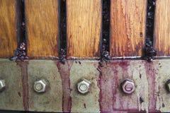 Rode winegrapes die in mandpers worden verpletterd Royalty-vrije Stock Foto