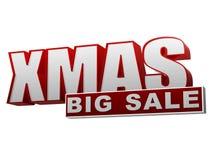 Rode witte banner van de Kerstmis de grote verkoop - brieven en blok Royalty-vrije Stock Foto