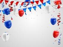 Rode Witte blauwe ballonsconfettien Stock Afbeelding