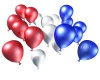 Rode, witte en blauwe ballons Stock Foto's