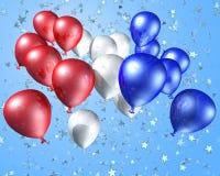 Rode, witte en blauwe ballons op een sterrige achtergrond Royalty-vrije Stock Afbeelding