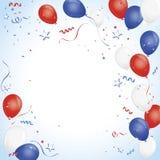 Rode witte en blauwe ballonviering Stock Foto
