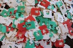Rode, witte en groene plastic broodmarkeringen royalty-vrije stock afbeeldingen