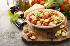 Rode, witte en groene tortellini met groenten en kaas Royalty-vrije Stock Afbeelding