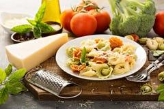 Rode, witte en groene tortellini met groenten en kaas Stock Afbeelding