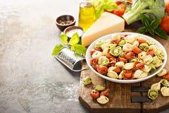 Rode, witte en groene tortellini met groenten en kaas Royalty-vrije Stock Fotografie