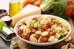 Rode, witte en groene tortellini met groenten en kaas Royalty-vrije Stock Afbeeldingen