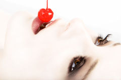 Rode witte gewassen kers Stock Afbeeldingen