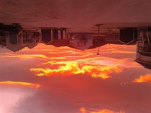 Rode Wolkenhemel Nuuk Groenland Stock Fotografie