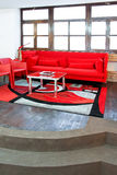 Rode woonkamer stock foto