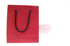 Rode zak die op wit wordt geïsoleerde Royalty-vrije Stock Afbeelding