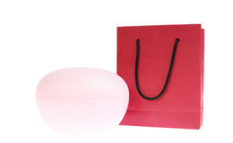 Rode zak die op wit wordt geïsoleerdi Stock Afbeelding