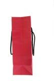 Rode zak die op wit wordt geïsoleerdo Stock Fotografie
