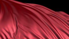 Rode zijde in langzame motie De stof ontwikkelt zich regelmatig in de wind stock footage