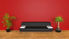 Rode zitkamerruimte met installaties stock illustratie