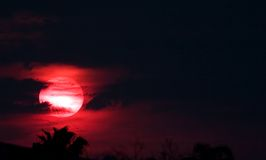 Rode Zon bij Nacht stock afbeeldingen