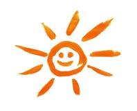 Rode zon die door geïsoleerdw kind wordt geschilderd Stock Afbeeldingen