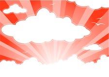 Rode zonnige hemel met wolken vector illustratie