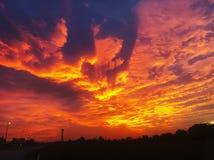Rode zonsondergang royalty-vrije stock fotografie