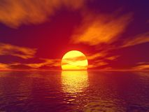 Rode zonsondergang stock illustratie