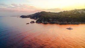 Rode Zonsondergang in Blanes 1 Stock Fotografie