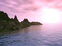 Rode zonsondergang in een baai royalty-vrije stock foto's