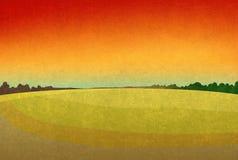 Rode zonsondergang op de gebieden royalty-vrije illustratie