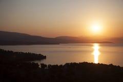 Rode zonsondergang op zee bodrum Turkije Royalty-vrije Stock Afbeeldingen