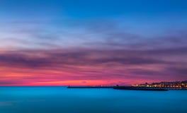 Rode zonsondergang over Porto - Bico do Cabedelo Royalty-vrije Stock Afbeelding