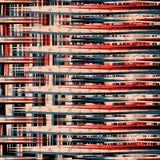 Rode zwarte en blauwe lijnen mooie geometrische vectorillustratie als achtergrond Stock Fotografie