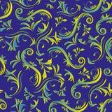 Rodee el fondo inconsútil del vintage con el ornamento floral amarillo azul en un fondo púrpura libre illustration