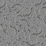Rodee el ornamento abstracto floral del modelo inconsútil del vintage en sombras del gris Foto de archivo