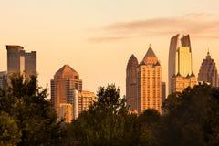Środek miasta linia horyzontu od Podgórskiego parka w Atlanta Zdjęcie Stock