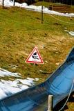 Rodel track in Ramkalni, Latvia. The spring pleausure on rodel track in Latvia Royalty Free Stock Image