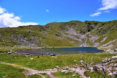 Rodella lake, sud tyrol italy. Rodella lake, Velturno, 2196 meters sud tyrol italy royalty free stock photography