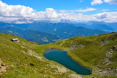 Rodella lake, sud tyrol italy. Rodella lake, Velturno, 2196 meters sud tyrol italy stock image