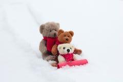 Rodelnder Teddy Bears Lizenzfreie Stockfotos