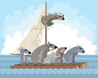 Rodents on a raft. Vector illustration of rodents on a raft Stock Images