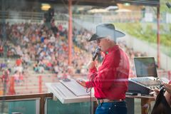Rodeo announcer Tyson Pietsch at the Williams Lake Stampede. Williams Lake, British Columbia/Canada - July 1, 2016: rodeo announcer Tyson Pietsch at work during Royalty Free Stock Images