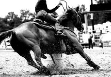 Rodeo Barrel Racing Closeup (BW). High contrast, black and white closeup of a rodeo Barrel Racer making a turn at one of the barrels (shallow focus on horse and Royalty Free Stock Photography