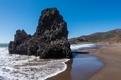 Rodeo Beach California rocks waves and sand Royalty Free Stock Photo