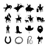 Rodeo Black Icons Set. Rodeo black icons with cowboys silhouettes riding on bulls and wild horses and rodeo accessories  vector illustration Stock Image