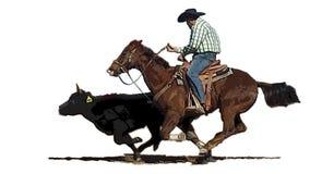 Rodeo bulldogger cowboy chasing down a cow stock illustration