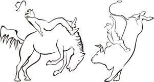 Rodeo - cavallo e toro Royalty Illustrazione gratis
