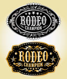 Rodeo Champion - cowboy belt buckle. Vector design - eps available Royalty Free Stock Photo