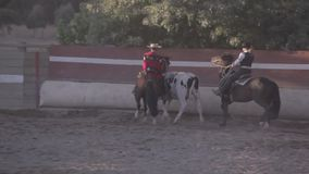Rodeo in Chile. Casablanca, Chile - March 09, 2013: Chilean huasos in a typical rodeo. Casablanca, Chile stock footage