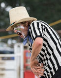 Rodeo Clown. A rodeo clown action up during the Cottonwood Rodeo in Cottonwood, California Stock Photos