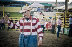 Rodeo clown and cowboys. Canadian pro rodeo in Airdrie Alberta Canada Royalty Free Stock Images
