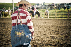 Rodeo clown and cowboys. Canadian pro rodeo in Airdrie Alberta Canada Royalty Free Stock Image